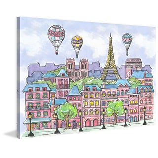 Marmont Hill - 'Paris Balloons' by Reesa Qualia Painting Print on Wrapped Canvas