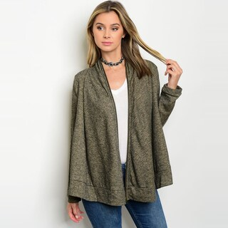 Shop the Trends Women's Long-sleeve Olive Green Cotton, Polyester Sweater Cardigan
