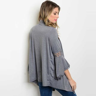 Shop The Trends Women's Rayon Blend 3/4 Bell Sleeve Jersey Cardigan with Lace Trim Detail