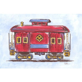 Marmont Hill - 'Red Train' by Reesa Qualia Painting Print on Wrapped Canvas