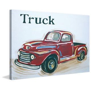 Marmont Hill - 'Red Truck' by Reesa Qualia Painting Print on Wrapped Canvas