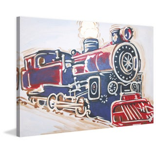 Marmont Hill - 'Vintage Train' by Reesa Qualia Painting Print on Wrapped Canvas - Blue