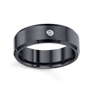 Men's Black Ceramic Satin and High Polished Band with Diamond