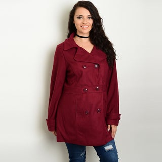 Shop The Trends Women's Red Polyester Plus Size Long-sleeve Collared Peacoat with Button Front Closure
