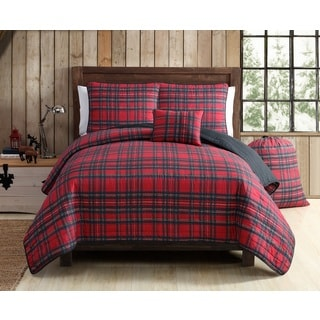VCNY Tartan Plaid 5 Piece Quilt Set
