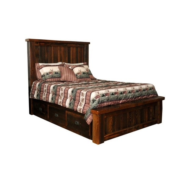 Rustic Reclaimed Barn Wood Bed W Drawers Urban Distress Stain Free Shipping Today 13842921