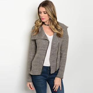Shop The Trends Women's Brown Cotton Long-sleeve Knit Moto Jacket