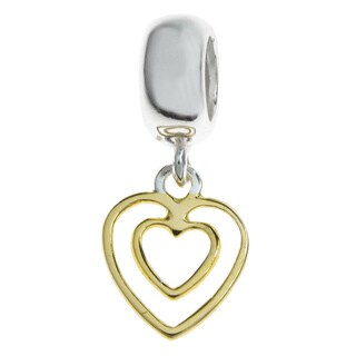 Queenberry Two-Tone Sterling Silver Double Heart Dangle European Bead Charm