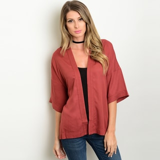 Shop The Trends Women's Red Polyester Short Flutter Sleeve Kimono Cardigan with Open Front