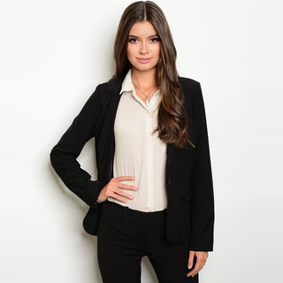 Shop The Trends Women's Long-sleeve Front-button Closure Blazer Jacket