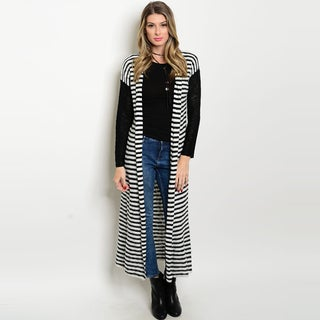 Shop The Trends Women's Long-sleeve Striped Print Black