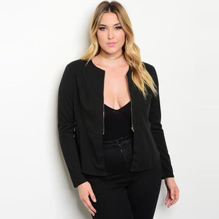 Shop The Trends Women's Black Polyester Blend Plus Size Long Sleeve Blazer Jacket
