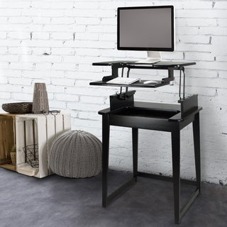 Contemporary Freestyle Stand-up or Sit Down Black Wood Desk