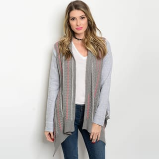 Shop The Trends Women's Grey Open Front Long-sleeve Knit Sweater Cardigan|https://ak1.ostkcdn.com/images/products/13843058/P20486438.jpg?impolicy=medium