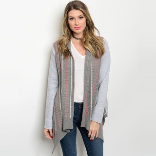 Shop The Trends Women's Grey Open Front Long-sleeve Knit Sweater Cardigan