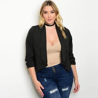 Shop the Trends Women's Plus Size Black 3/4-sleeve Collared Open-front Blazer Jacket