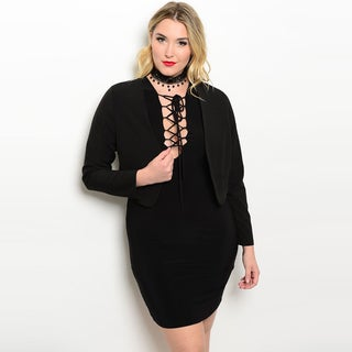 Shop The Trends Women's Black Rayon-blend Plus-size Long-sleeve Croped Blazer Jacket