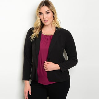 Shop The Trends Women's Black Rayon-blend Plus Size Collared Blazer Jacket