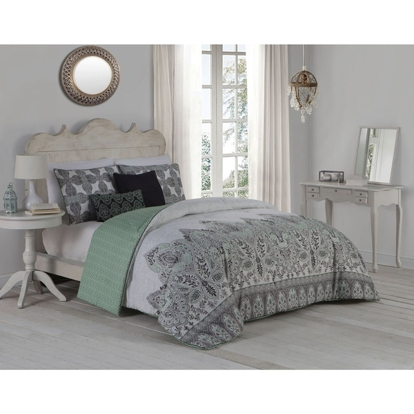 Avondale Manor Imogen Damask Pattern 5-piece Duvet Cover Set