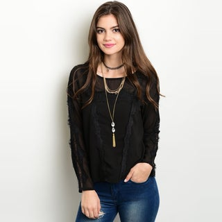 Shop The Trends Women's Black Long Sleeve Sheer Top