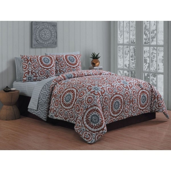 Avondale Manor Leona Rust 8-piece Bed in a Bag Set
