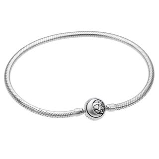 Qina C. Rhodium on Sterling Silver 3mm European Style Snake Bracelet with Round Celestial Clasp