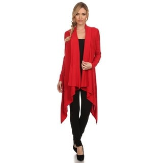 High Secret Women's Solid Color Asymmetrical-hem Draped-neck Open-front Cardigan