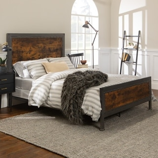 Queen Size Industrial Brown Wood and Metal Bed