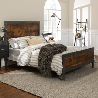Queen bed   Industrial Brown Wood and Metal. Metal Bedroom Furniture For Less   Overstock com