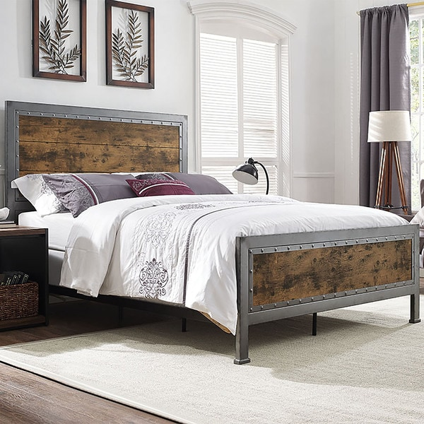 Queen Bed Industrial Brown Wood And Metal Free