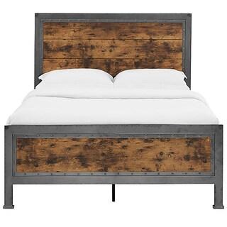 Queen bed - Industrial Brown Wood and Metal
