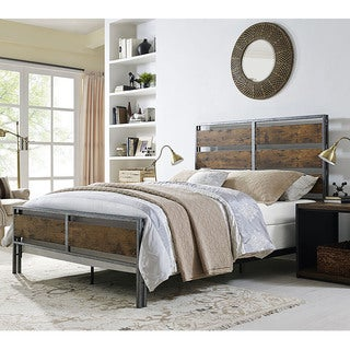 queen size metal and wood plank bed