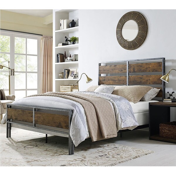 Metal And Wood Plank Queen Bed Free Shipping Today