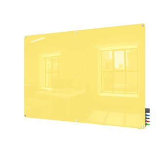 Ghent Harmony Yellow 4' x 6' Radius-corner Magnetic Glassboard with 4 Rare Earth Magnets, 4 Markers, and Eraser