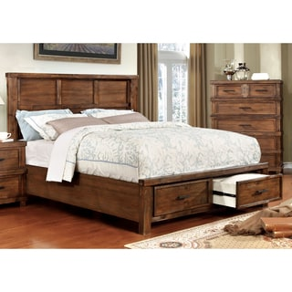 Furniture of America Stamson Rustic Antique Oak Wood Queen-size Storage Bed