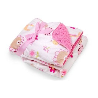 Pink/White Printed Animal Blanket with Sherpa Backing