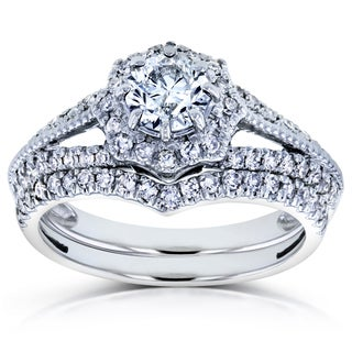Annello By Kobelli 14k White Gold 1ct TDW Diamond Star Halo Bridal Set