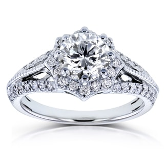 Annello by Kobelli 14k White Gold 1 1/3ct TDW Diamond Star Halo Engagement Ring