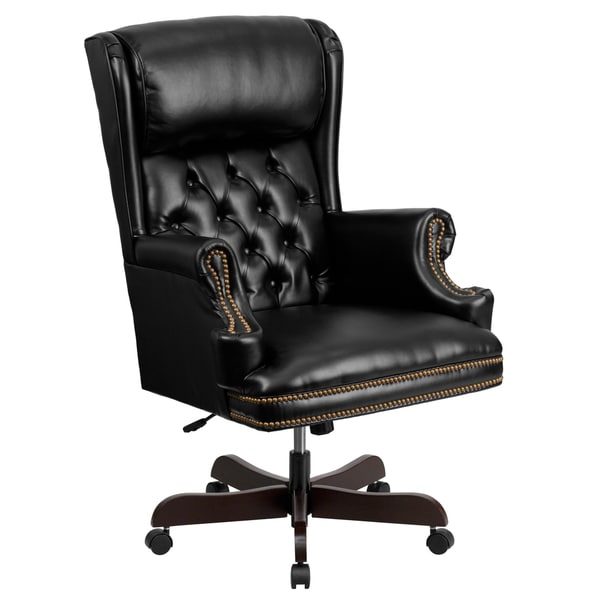 button tufted black leather executive adjustable swivel office chair
