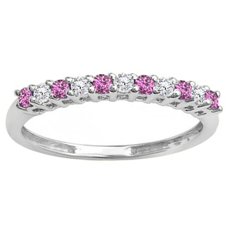 10k Gold 1/3ct Round Diamond & Pink Sapphire Anniversary Stackable Wedding Band (I-J & Pink, I2-I3 & Highly Included)