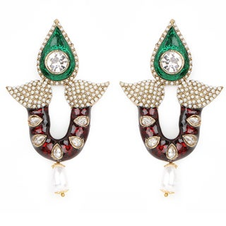 Liliana Bella Pearl Drop Dangle Earrings With Cubic Zirconia And Green And Maroon Enamelling