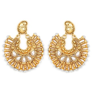 Liliana Bella Goldplated Chandelier Earrings With White Pearl
