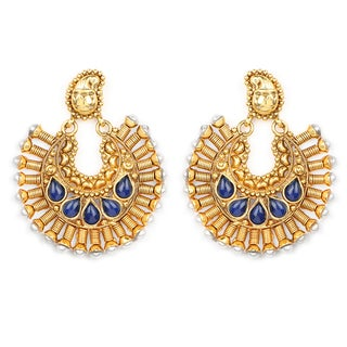 Liliana Bella Goldplated Chandelier Earrings With Pearl And Blue Glass