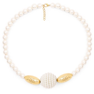 Liliana Bella Handmade Goldplated White Pearl Necklace And Earrings Set