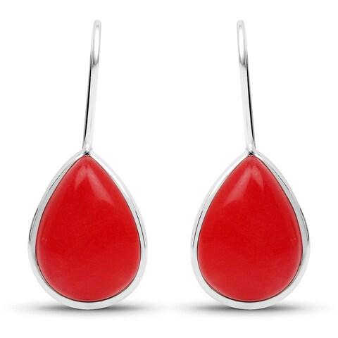 Liliana Bella Handmade Teardrop Red Dangle Earrings