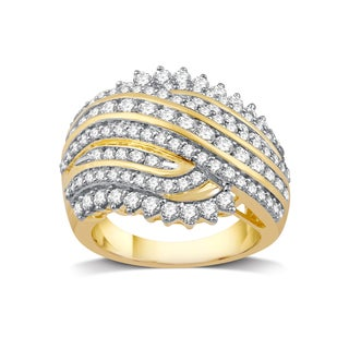 10k Yellow Gold 2ct TDW White Diamond Cluster Ring (I-J, I2-I3)