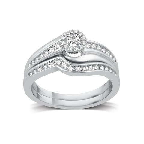 Platinaire 1/3ct TDW White Diamond Halo Bridal Set