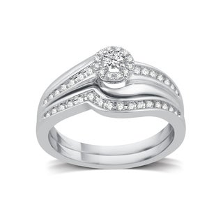 Platinaire 1/3ct TDW White Diamond Halo Bridal Set (More options available)