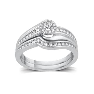 platinaire 13ct tdw white diamond halo bridal set - Platinum Wedding Ring Sets