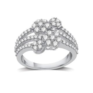 10k White Gold 1ct TDW White Diamond Fashion Cluster Flower Ring (I-J, I2-I3)